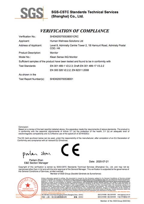 Verification of Compliance CE