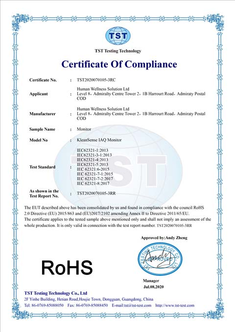 Monitor Rohs Certificate